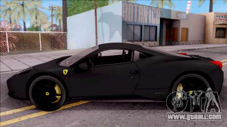 Ferrari 458 Italia Black for GTA San Andreas left view