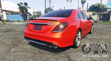 GTA 5 Mercedes-Benz S63 red brake caliper [add-on] rear left side view
