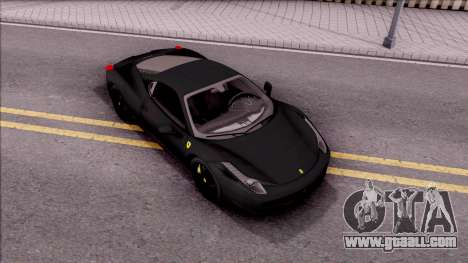 Ferrari 458 Italia Black for GTA San Andreas right view