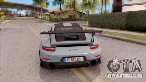 Porsche 911 GT2 RS Weissach Package EU Plate for GTA San Andreas back left view