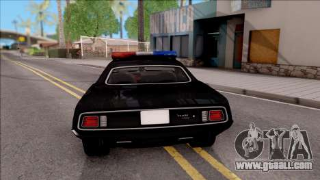 Plymouth Hemi Cuda 426 Police LVPD 1971 v2 for GTA San Andreas back left view