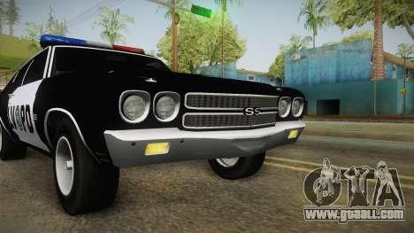 Chevrolet Chevelle SS Police LVPD 1970 v2 for GTA San Andreas upper view