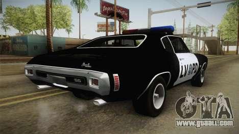 Chevrolet Chevelle SS Police LVPD 1970 v2 for GTA San Andreas left view