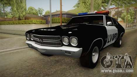 Chevrolet Chevelle SS Police LVPD 1970 v2 for GTA San Andreas back left view