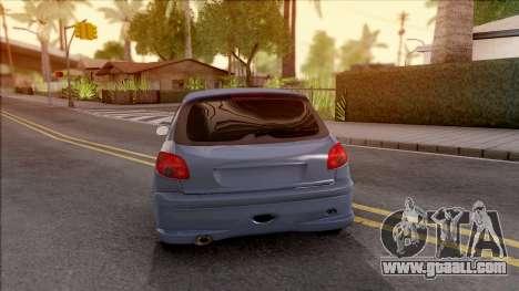 Peugeot 206 FR for GTA San Andreas back left view