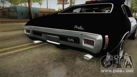 Chevrolet Chevelle SS Police LVPD 1970 v2 for GTA San Andreas bottom view