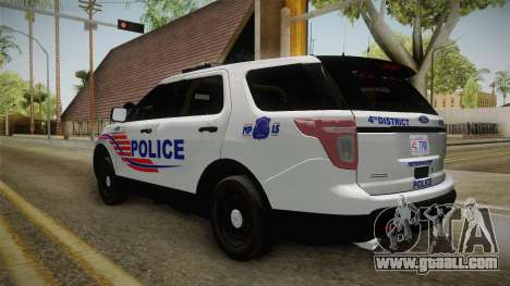 Ford Explorer 2013 Police for GTA San Andreas back left view