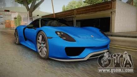 Porsche 918 Spyder Weissach Package 2015 for GTA San Andreas