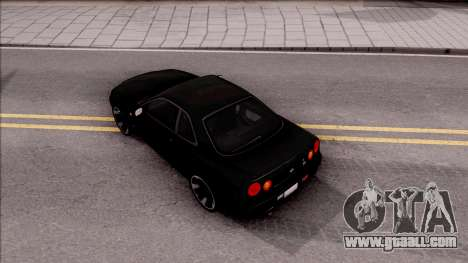 Nissan Skyline GT-R R34 for GTA San Andreas back view