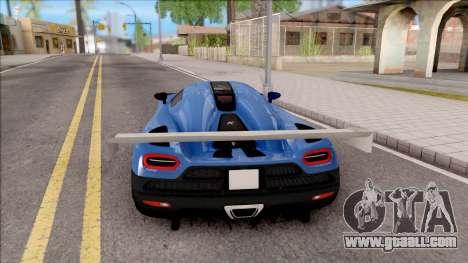 Koenigsegg Agera R Slammed for GTA San Andreas back left view