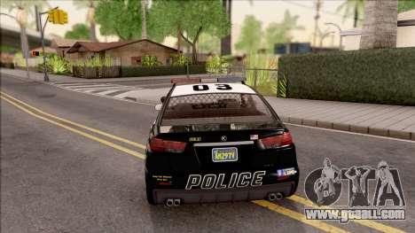 GTA V Karin Kuruma Interceptor for GTA San Andreas back left view