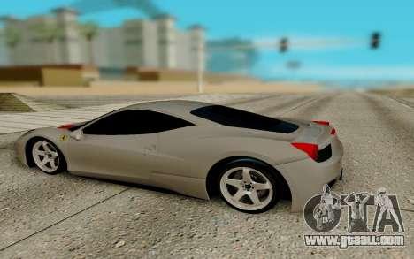 Ferrari Italia 458 for GTA San Andreas back left view