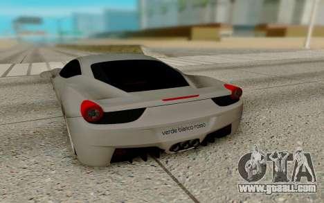 Ferrari Italia 458 for GTA San Andreas right view