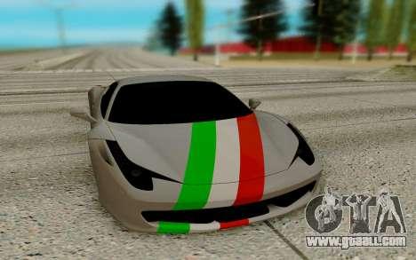 Ferrari Italia 458 for GTA San Andreas back view