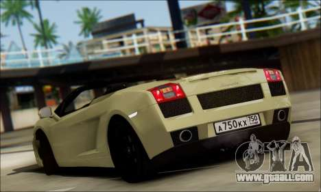 Lamborghini Gallaro 2005 Spyder for GTA San Andreas right view