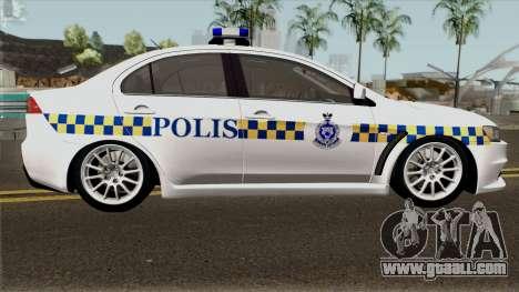 Mitsubishi Lancer Evolution X Malaysia Police for GTA San Andreas back view