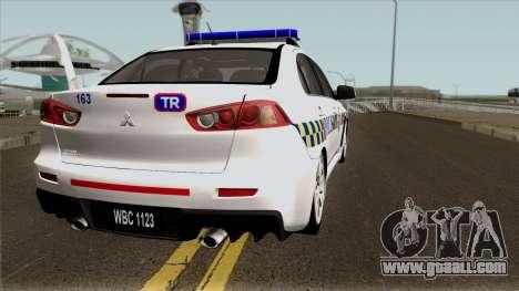 Mitsubishi Lancer Evolution X Malaysia Police for GTA San Andreas right view