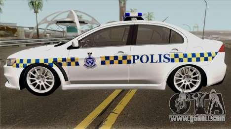Mitsubishi Lancer Evolution X Malaysia Police for GTA San Andreas left view