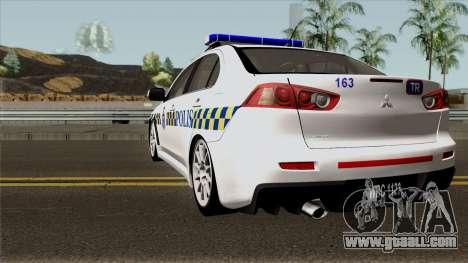 Mitsubishi Lancer Evolution X Malaysia Police for GTA San Andreas back left view