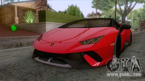 Lamborghini Huracan Performante Spyder 2019 for GTA San Andreas