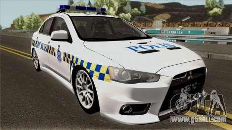 Mitsubishi Lancer Evolution X Malaysia Police for GTA San Andreas inner view