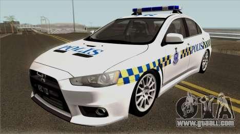 Mitsubishi Lancer Evolution X Malaysia Police for GTA San Andreas