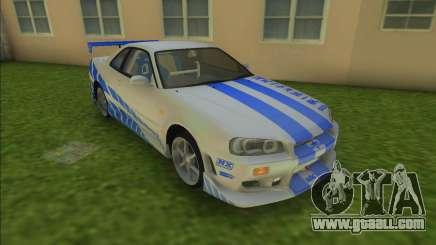 2F2F Nissan Skyline R34 for GTA Vice City